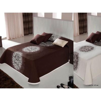 agnes couvre lit reversible coloris chocolat blanc 280x270 cm reig marti. Black Bedroom Furniture Sets. Home Design Ideas