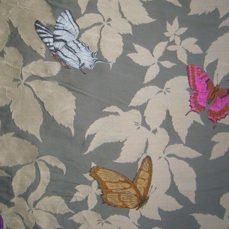 Butterfly (4 coloris) Tissu ameublement jacquard L.150cm motif fleuri papillons Thevenon
