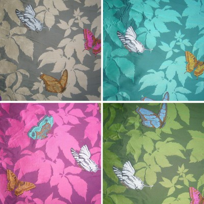 Butterfly (4 colors) fabric upholstery jacquard pattern flowers butterflies Thévenon