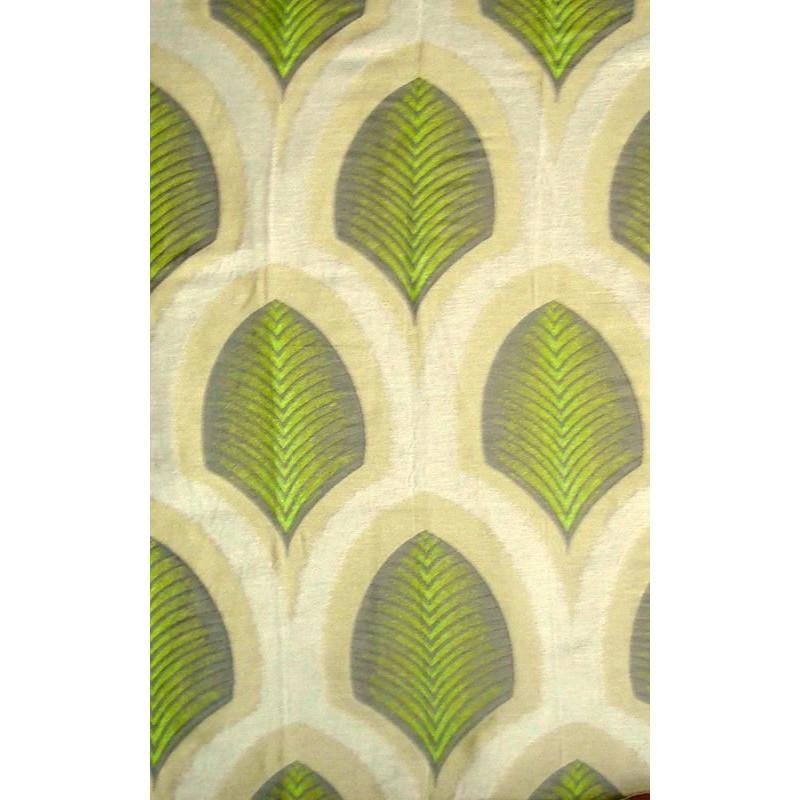 Taika Tissu ameublement jacquard feuilles coloris anis L.137cm Thevenon 1672715 0315 le metre