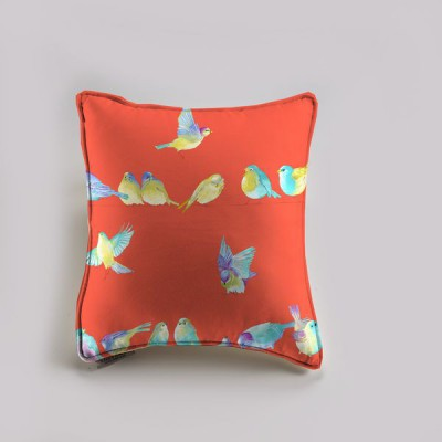 """Happy Birds"" saumon Taie dehoussable zip avec interieur 60x60cm Thevenon"
