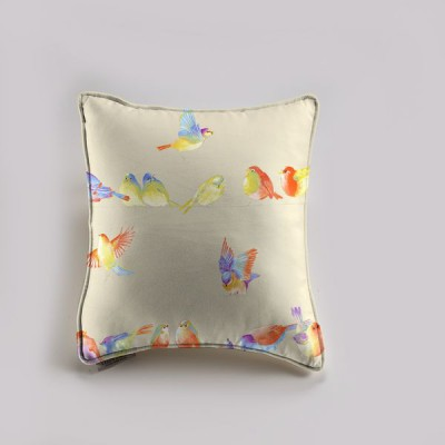 """Happy Birds"" lin Taie dehoussable zip avec interieur 60x60cm Thevenon"