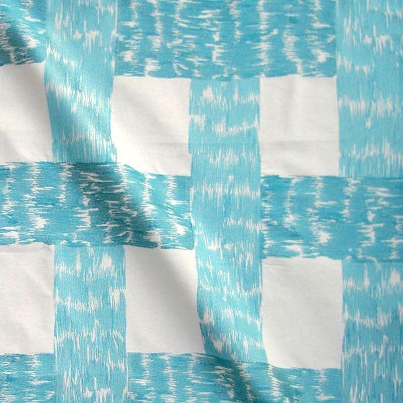 Caminos Toile ameublement brode L.137cm motif carreaux Thevenon