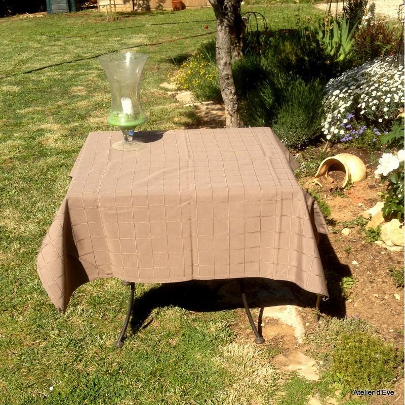 Isis taupe nappe de table sur mesure 160x220cm 763719 - Nappe de table rectangulaire sur mesure ...