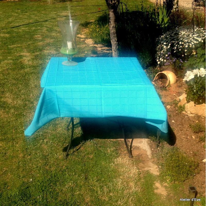 Isis turquoise nappe de table sur mesure 170x270cm 763712 - Nappe de table rectangulaire sur mesure ...