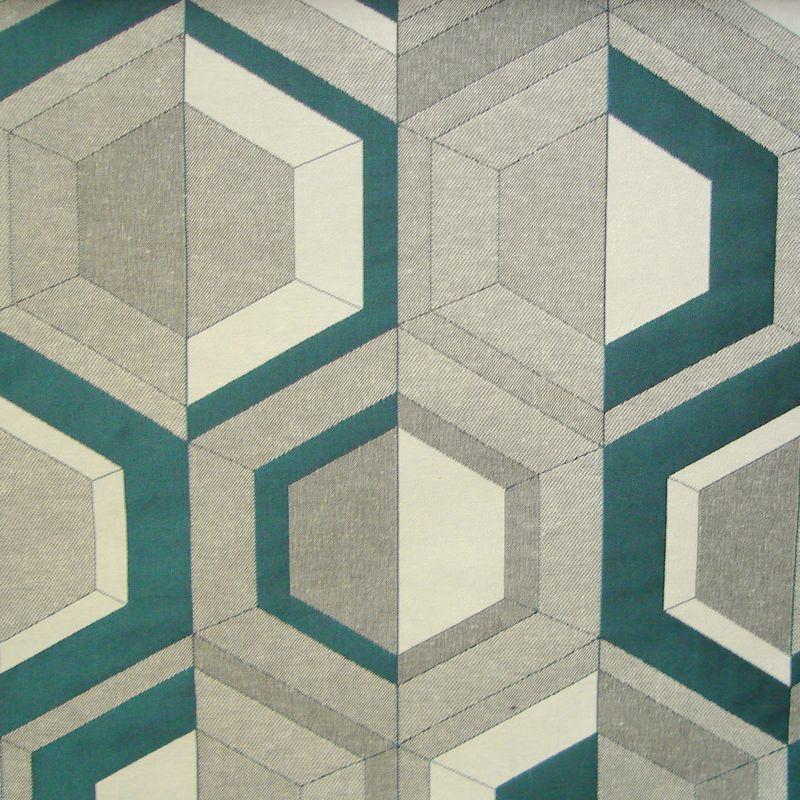 Double Vue turquoise Rouleau tissu ameublement jacquard graphique L.140cm Thevenon
