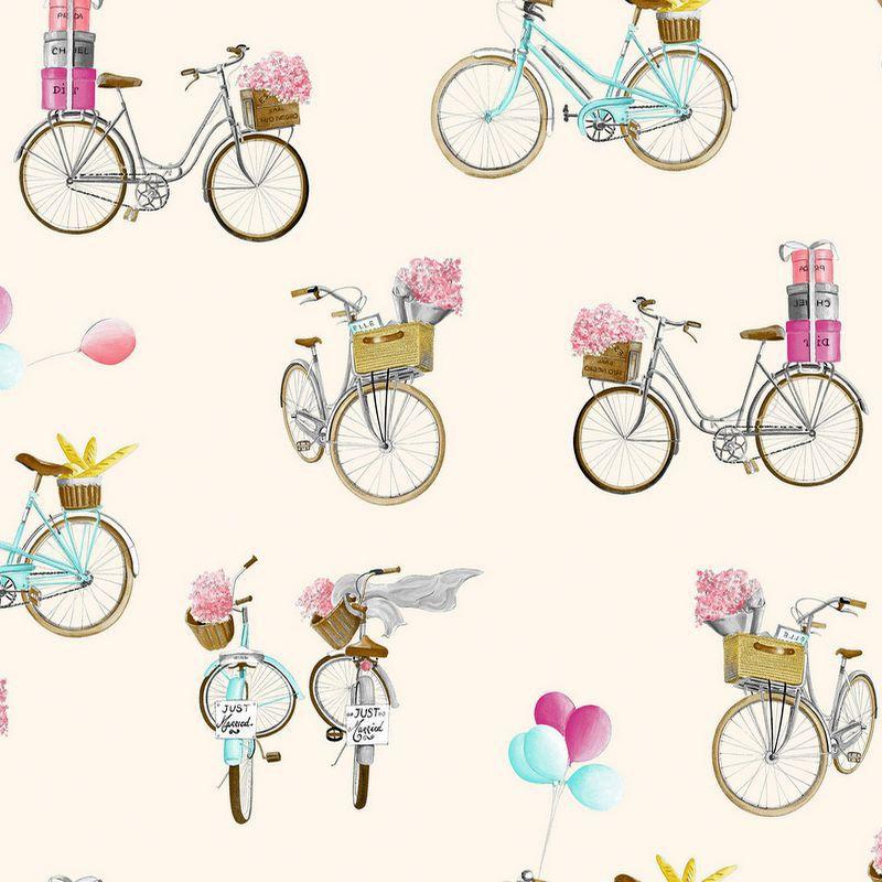 A Bicyclette - Tissu d'ameublement fantaisie en grande largeur crème