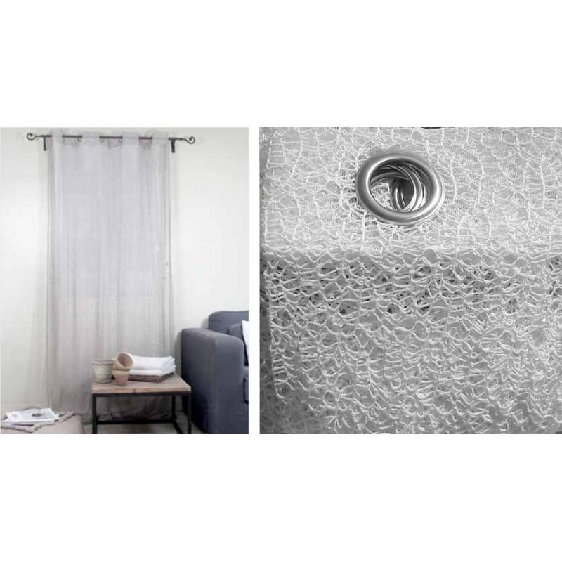 rideau filament rideau ecru a oeillets pret a poser 140x250cm. Black Bedroom Furniture Sets. Home Design Ideas