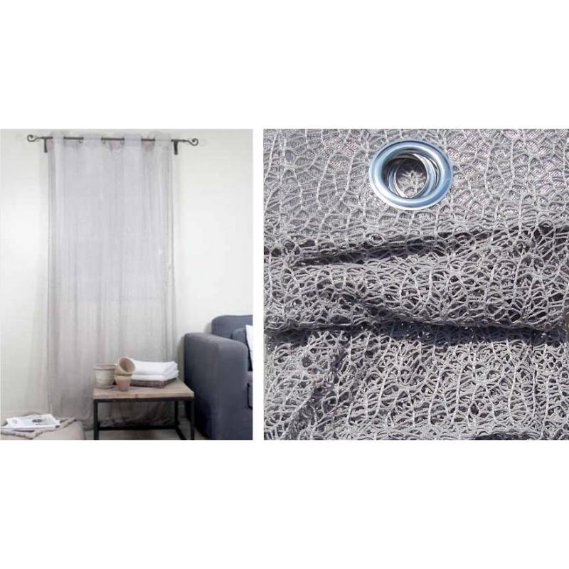 rideau filament rideau naturel a oeillets pret a poser 140x250cm. Black Bedroom Furniture Sets. Home Design Ideas
