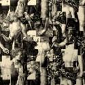 Puzzle Tissu ameublement coton Toile de jouy pour siege noir L.142cm Thevenon