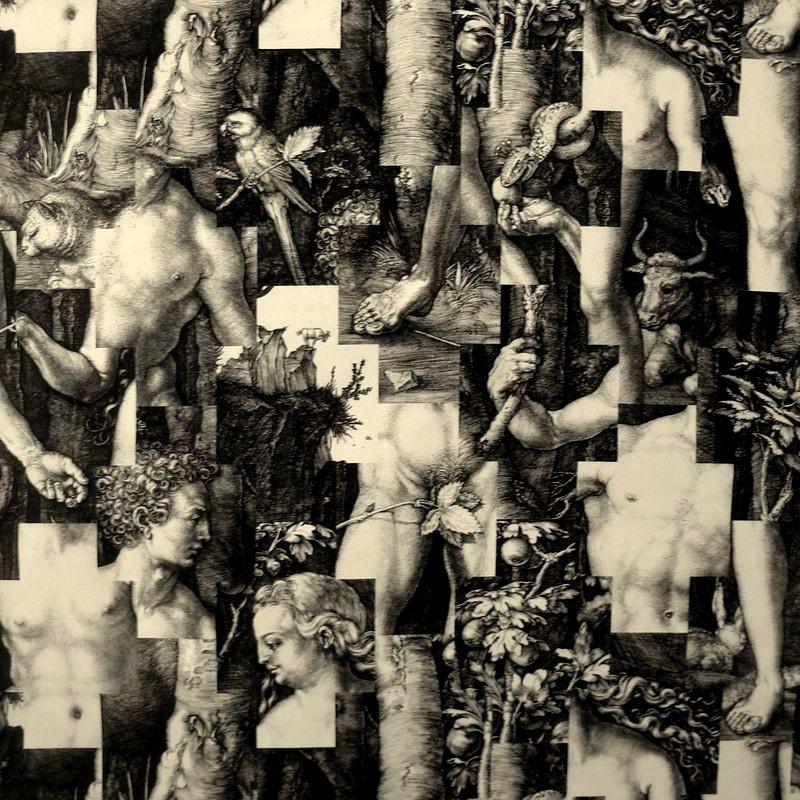 Puzzle Rouleau tissu ameublement coton Toile de jouy noir L.142cm Thevenon