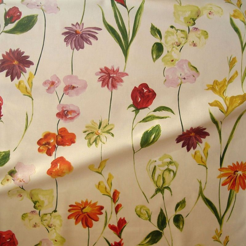 Quintessence - Tissu écru bachette ameublement coton grande largeur fleuri Thevenon