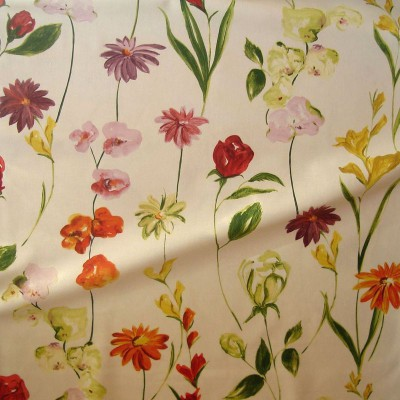 Quintessence (2 colours) cotton furnishing fabric wide flowered for seat Thévenon