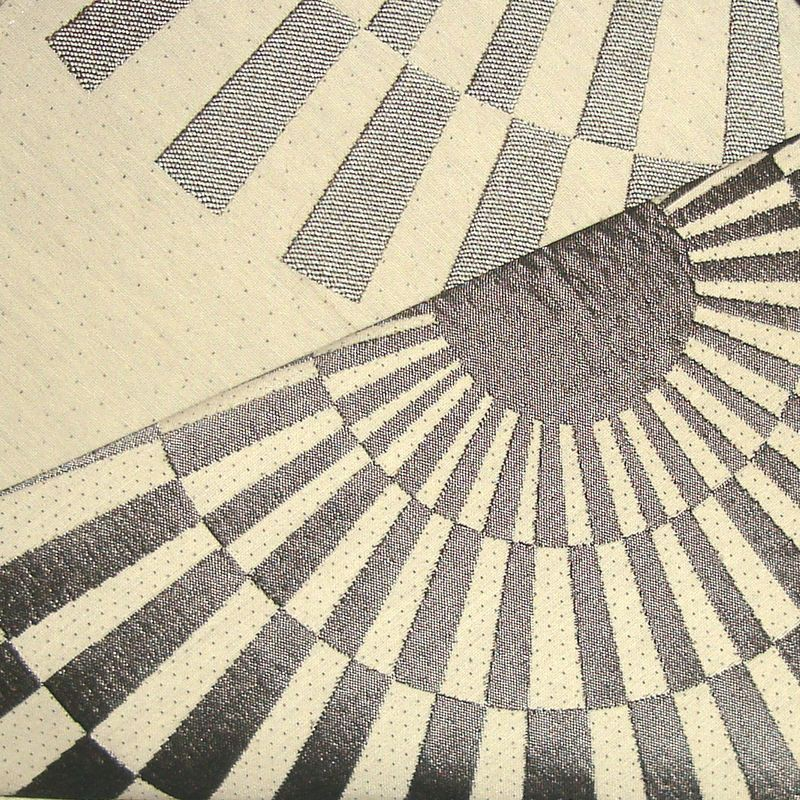 Canopee Rouleau tissu ameublement jacquard reversible L.140cm gris fond creme 1680711 La piece