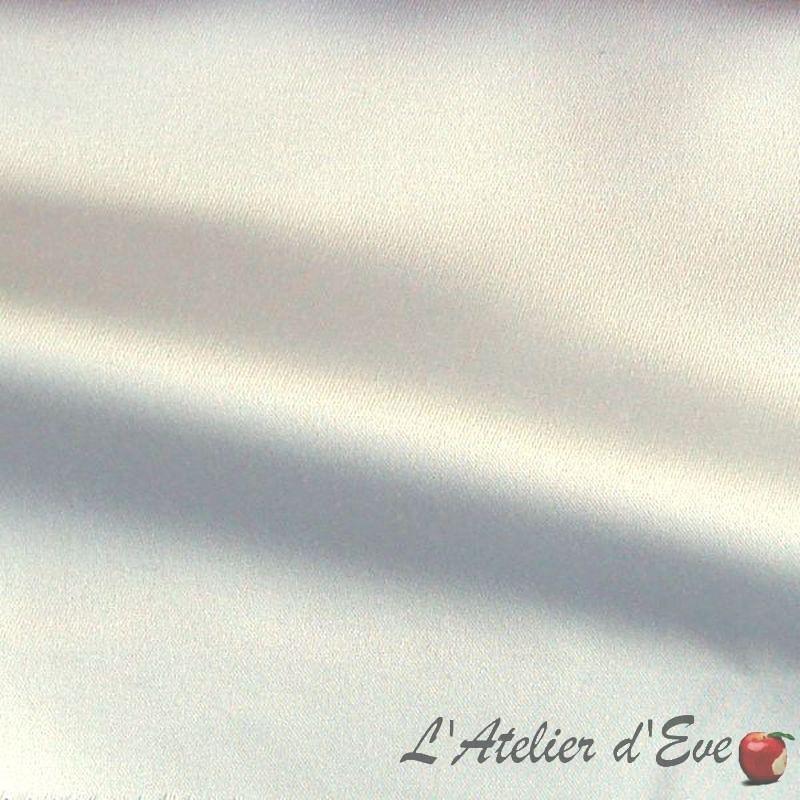 Mango blanc Tissu ameublement non feu M1 satin lavable grande largeur Thevenon