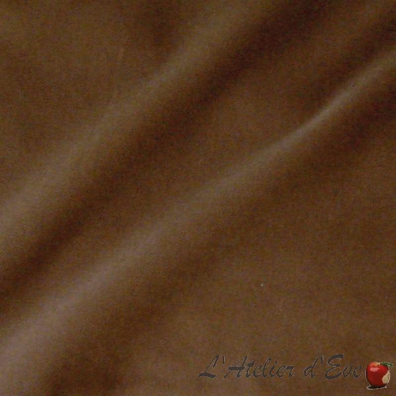 Tissu velours non feu M1 Saint James marron de Thevenon