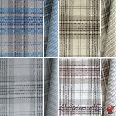 Watson reversible (4 coloris) Tissu ameublement jacquard carreaux écossais non feu M1 lavable Thevenon