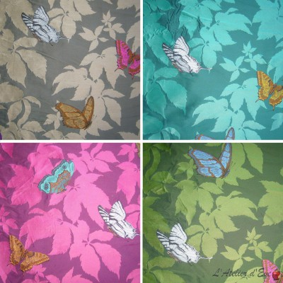 Butterfly (4 colors) fabric upholstery jacquard pattern butterflies for seat Thévenon