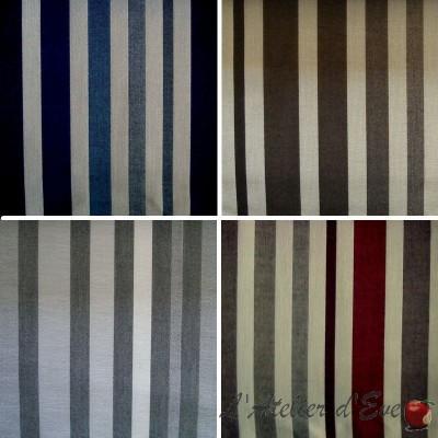 Mikado (4 coloris) Toile ameublement pour sièges lavable non feu Trevira CS rayures Thevenon