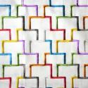 Tetris roll canvas multicolored embroidered furniture Thévenon