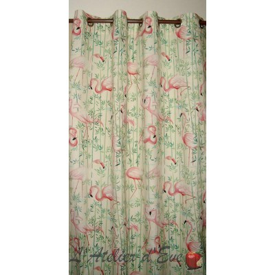 Flamingo curtain eyelets ready to ask reason flamingos pink Thévenon the curtain