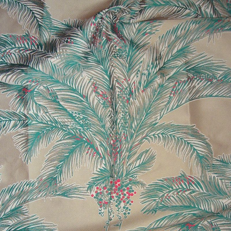 Bahia Tissu ameublement coton exotique fond creme L.140cm Thevenon le metre