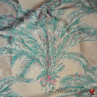 Bahia roller fabric upholstery jacquard pattern Palm Thévenon the piece or half room