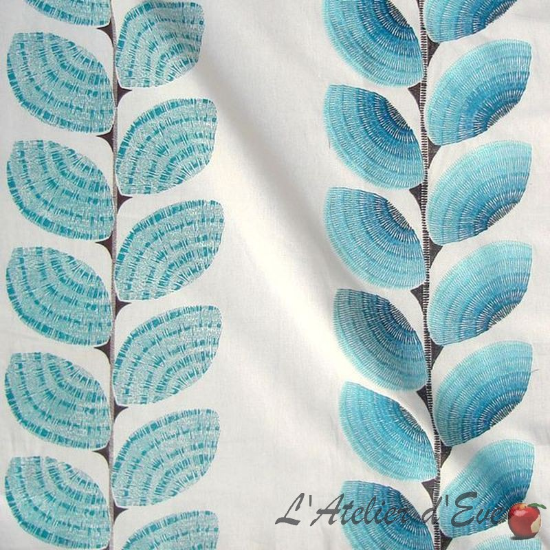 Ephemere Rideau a oeillets pret a poser brode rayures lagon 1663652 le rideau