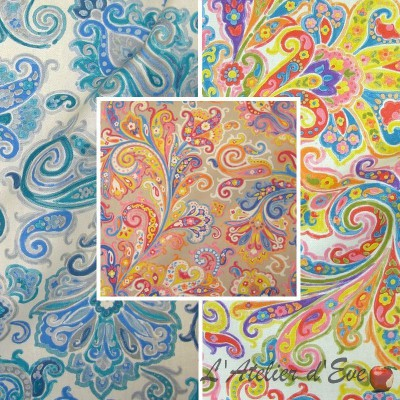 Hippy (3 colours) rolls cotton furnishing fabric wide Paisley for seat Thévenon the piece or half room