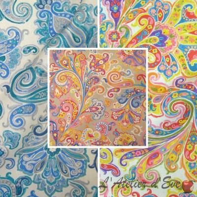 Hippy (3 coloris) Rouleaux tissu ameublement coton grande largeur motif cachemire pour siège Thevenon La pièce ou demi-pièce