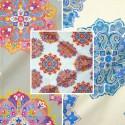 Woodstock (3 coloris) Rouleaux tissu ameublement et sièges coton grande largeur motif rosace Thevenon La pièce ou demi-pièce