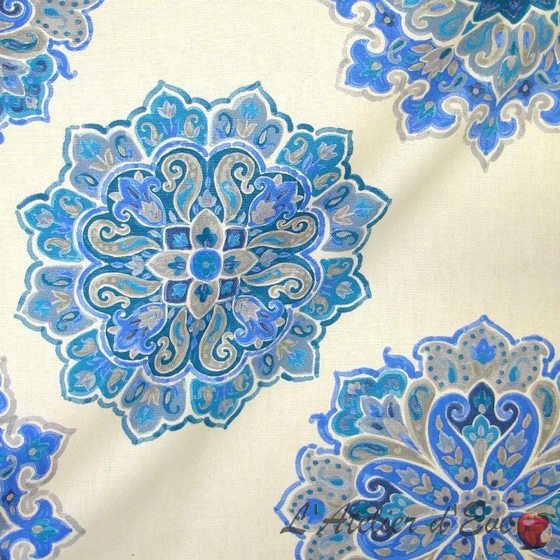 Woodstock fond bleu/gris - Achat rouleau tissu ameublement grande largeur tissu Thevenon en gros