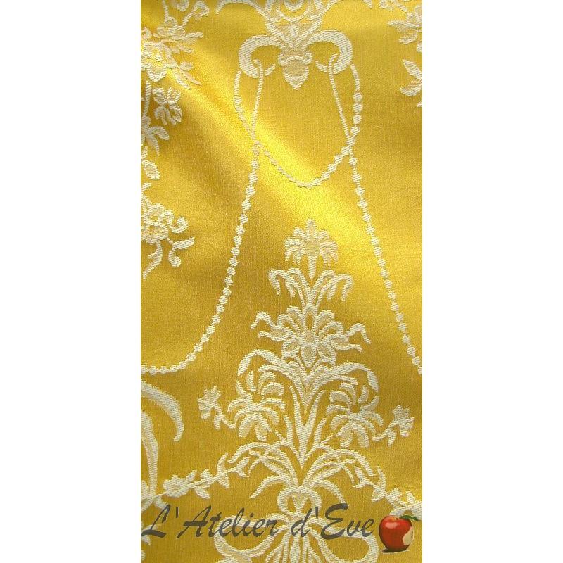 Louxor jaune or rouleau tissu ameublement jacquard haut de gamme Thevenon Paris vendu à la pièce et demi-pièce
