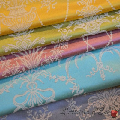 Luxor (4 colors) fabric roll upholstery jacquard satine Thévenon the piece or half room