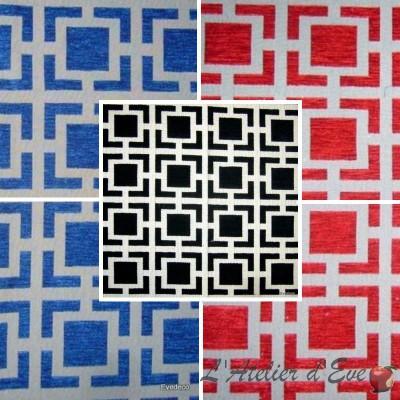Oxygen (3 colors) fabric upholstery Plaid jacquard big width Thévenon