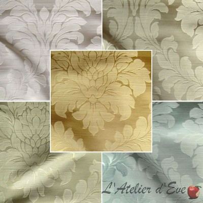 Angora (7 coloris) Tissu ameublement jacquard uni satiné Thevenon