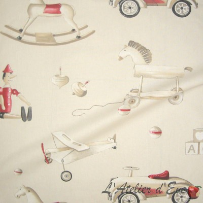 Pinocchio roll cotton furnishing fabric great width for seat Thévenon the piece or half room