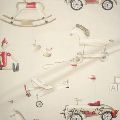 Pinocchio Rouleau tissu ameublement coton grande largeur pour siège Thevenon La pièce ou demi-pièce