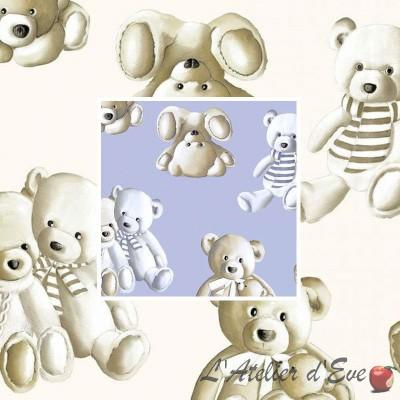 Teddy (2 coloris) Rideau à oeillets prêt à poser pour enfant motif peluche Thevenon Le Rideau