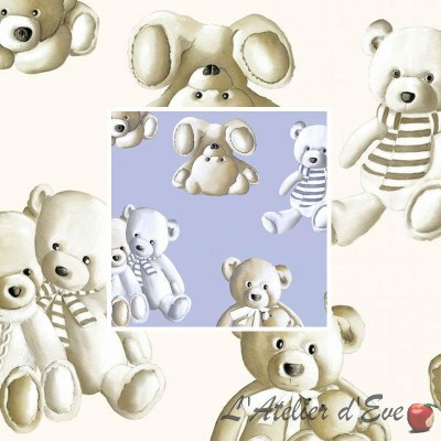 Teddy (2 colours) roll furnishing cotton percale fabric great width pattern plush Thévenon the piece or half room
