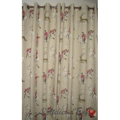 A coursing curtain grommet ready to ask theme horses Thévenon the curtain