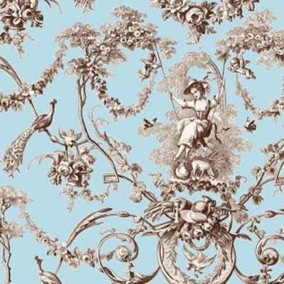 ludivine rideau a oeillets pret a poser toile de jouy bleu toile de jouy. Black Bedroom Furniture Sets. Home Design Ideas