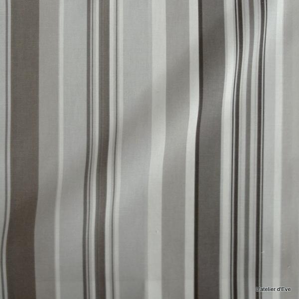 manon tissu ameublement rayures bachette coton olivier thevenon taupe le metre tissus rayures. Black Bedroom Furniture Sets. Home Design Ideas
