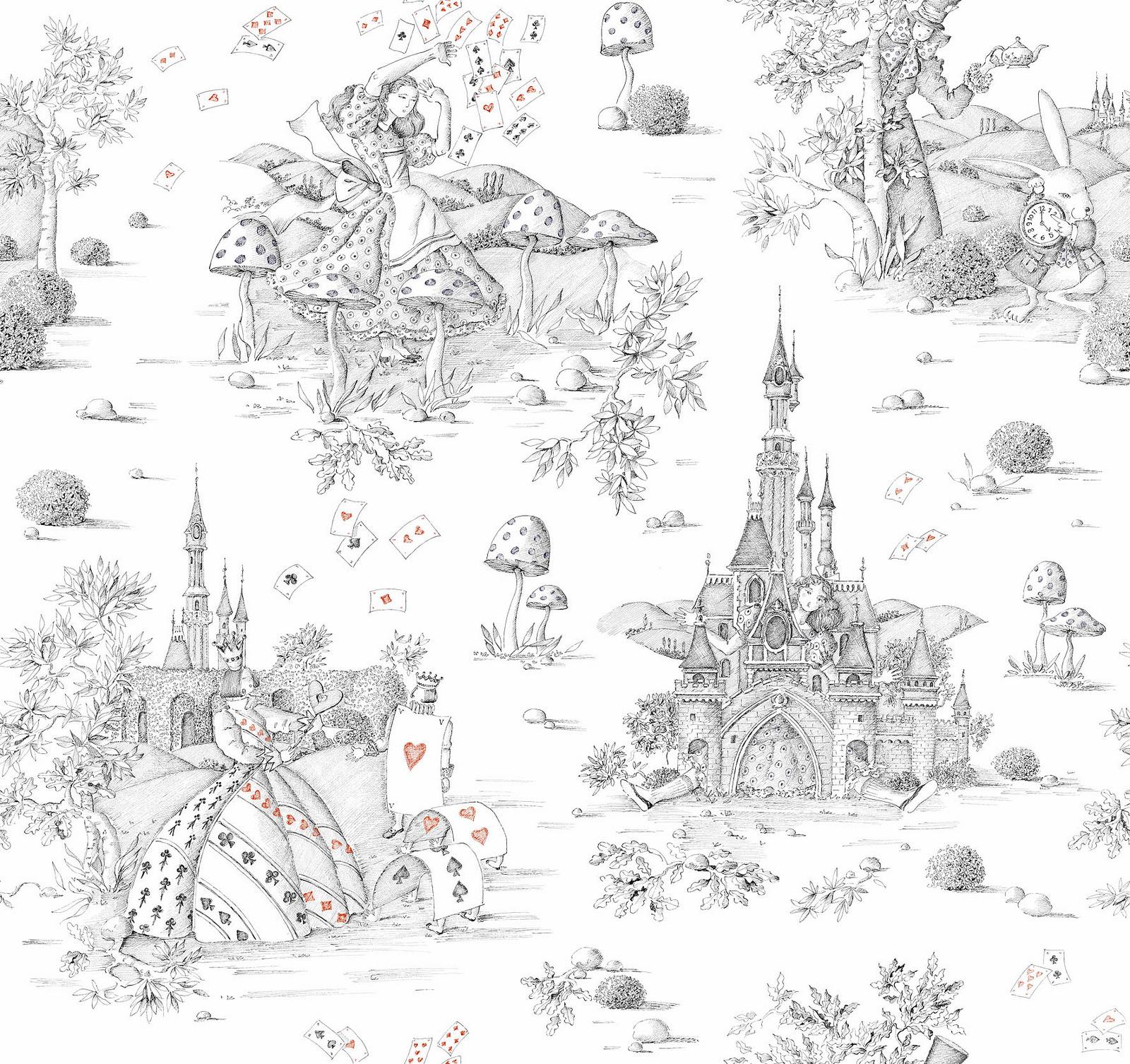 Tissu d'ameublement Toile de Jouy Collection Au Pays Des Merveilles Thevenon