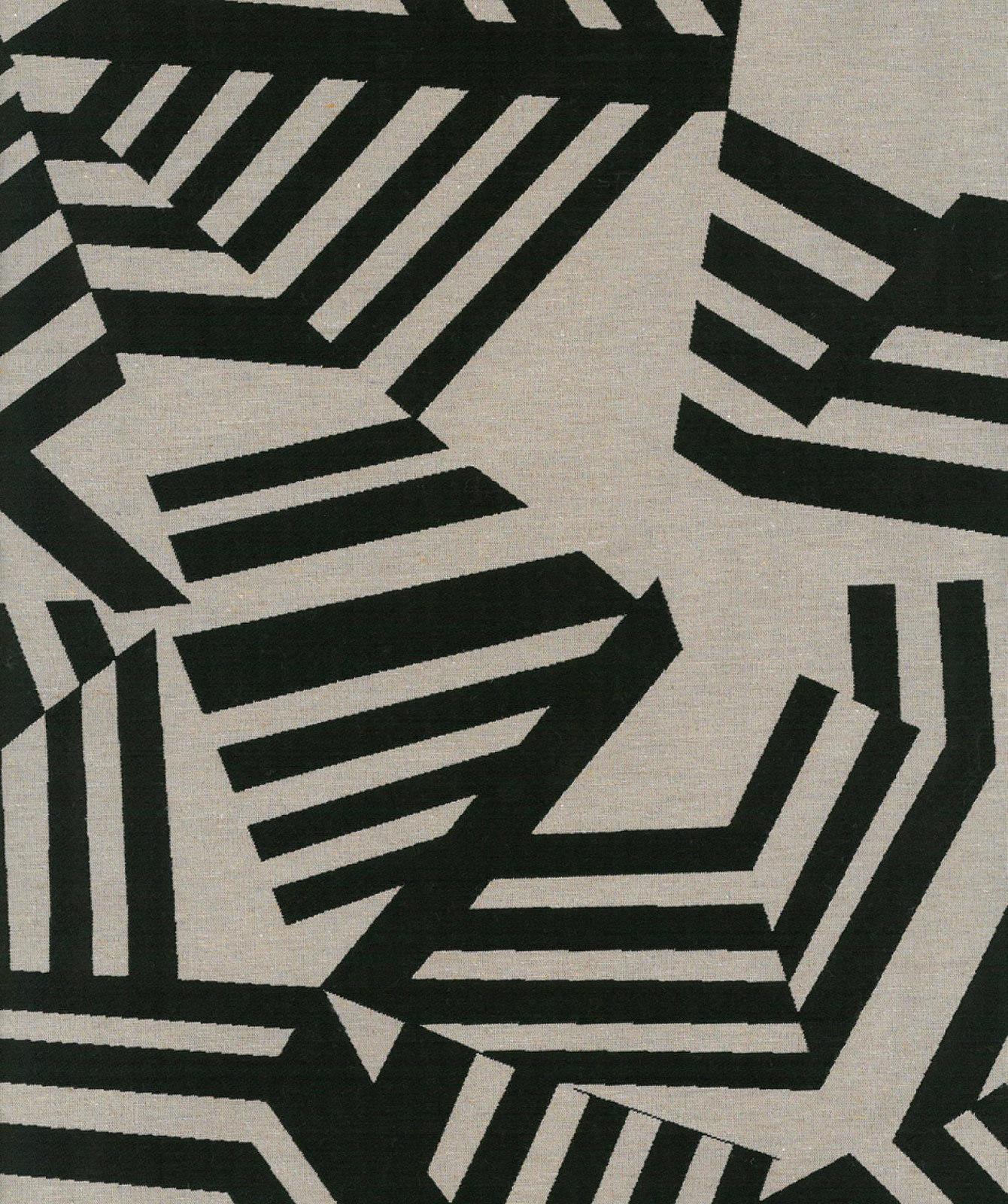 Tissu Géométrique Arakane Noir