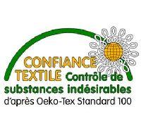 Exigences Européennes environnementales: Nos tissus répondent au LABEL OEKO-TEX 100 garantissant ne contenir aucun produit toxique pour le corps et l'environnement et répondent à la norme REACH: aucune substance chimique y compris les colorants azoïques, nickel, plomb.
