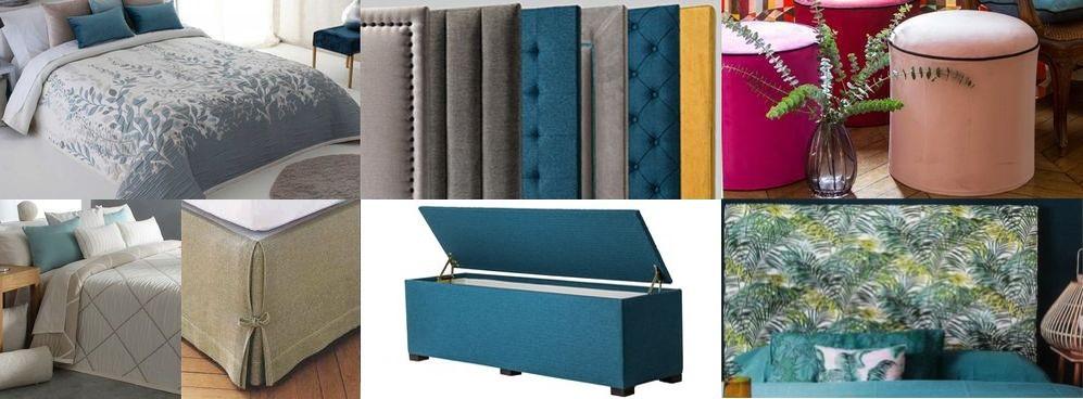 Univers de la chambre: couvre-lit, plaid, tête de lit, coffre